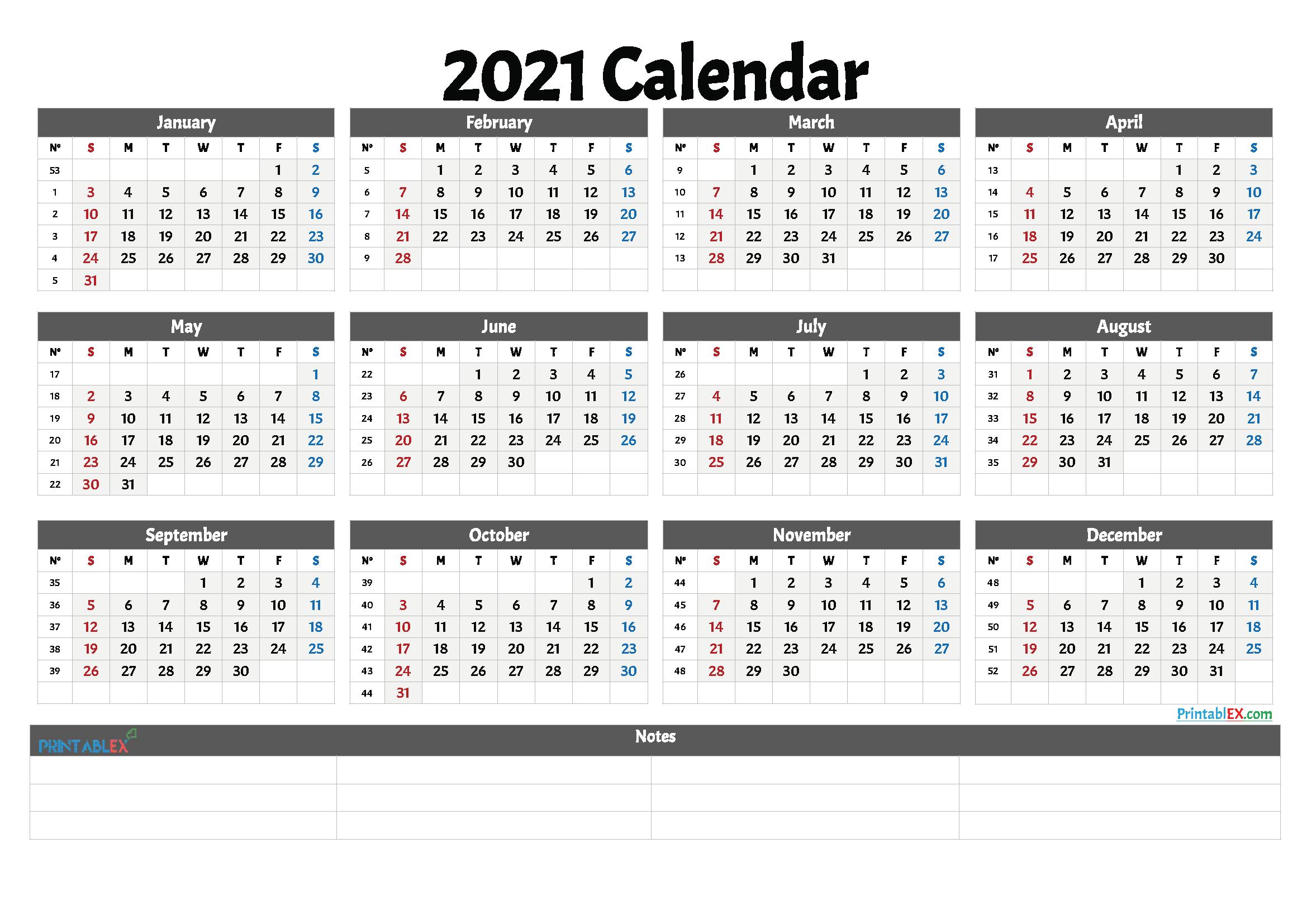 2021 Printable Calendar With Week Numbers   Free Printable Within 2021 Calendar With Federal Printabl