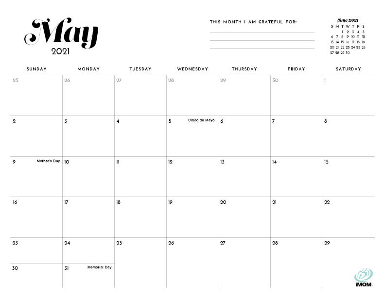 2021 Simple Printable Calendar For Moms - Imom Throughout Printable Sunrise And Sunset Calander 2021