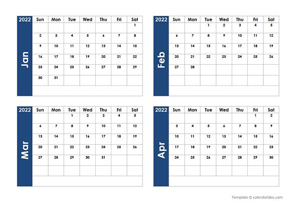 2022 Blank Four Month Calendar – Free Printable Templates Regarding Julian Calendar 2022