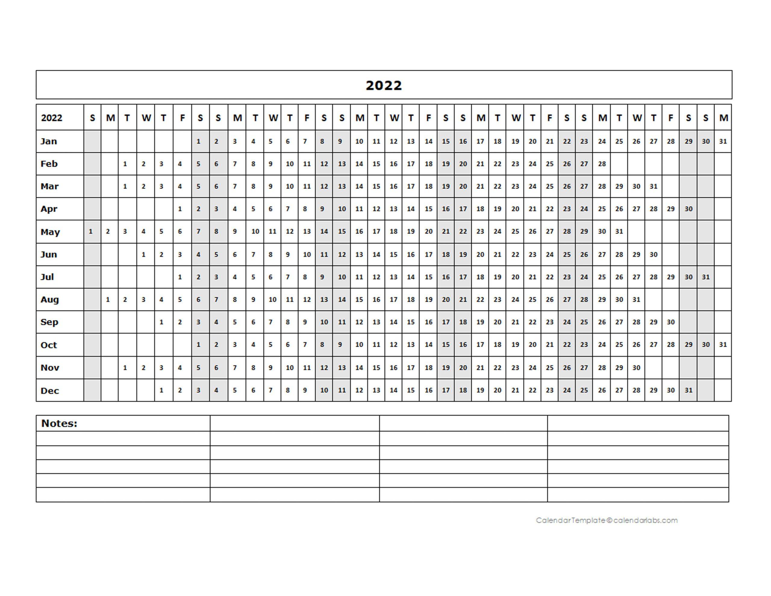 2022 Blank Landscape Yearly Calendar Template – Free In Julian Date Calendar For 2022