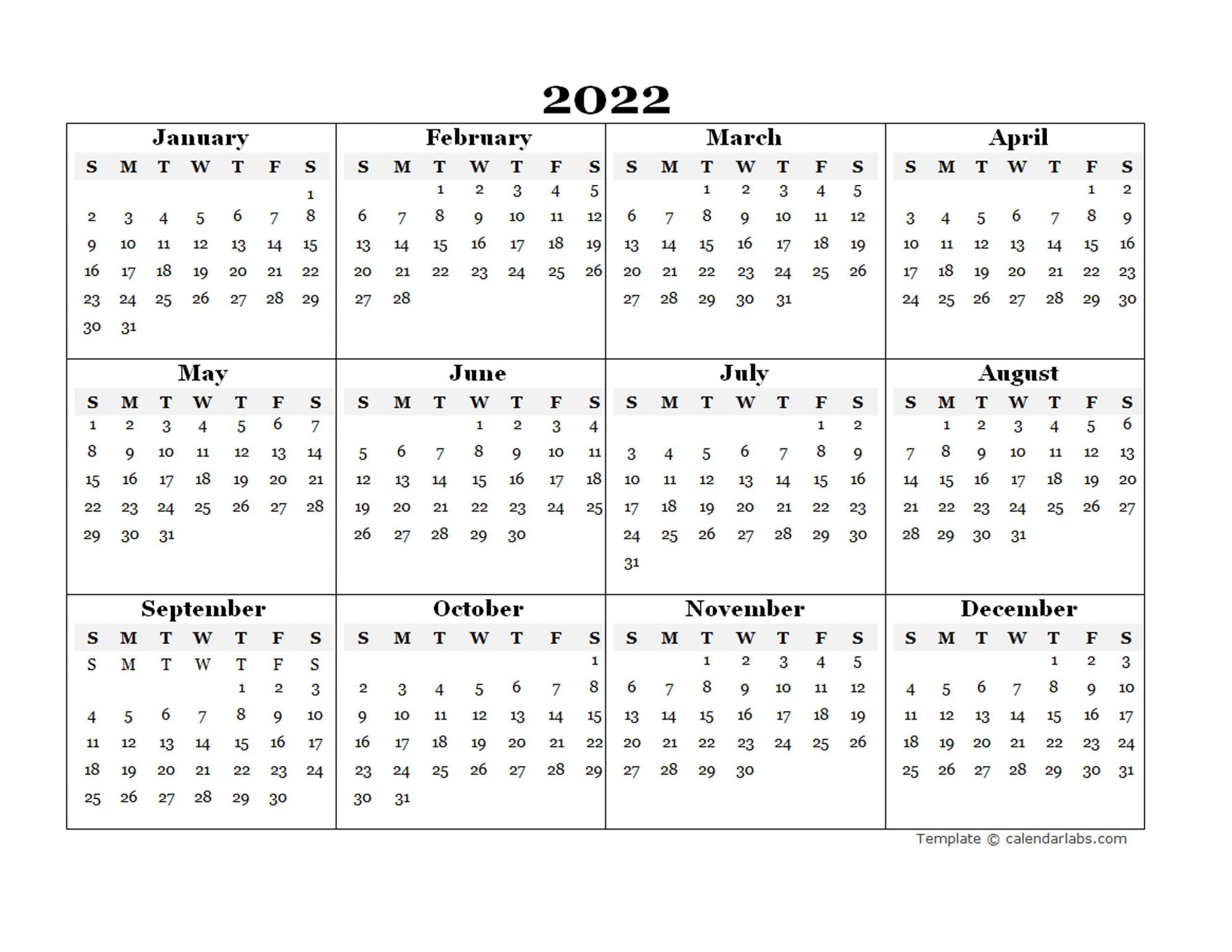 2022 Blank Yearly Calendar Template - Free Printable Templates For Julian To Gregorian Calendar 2022