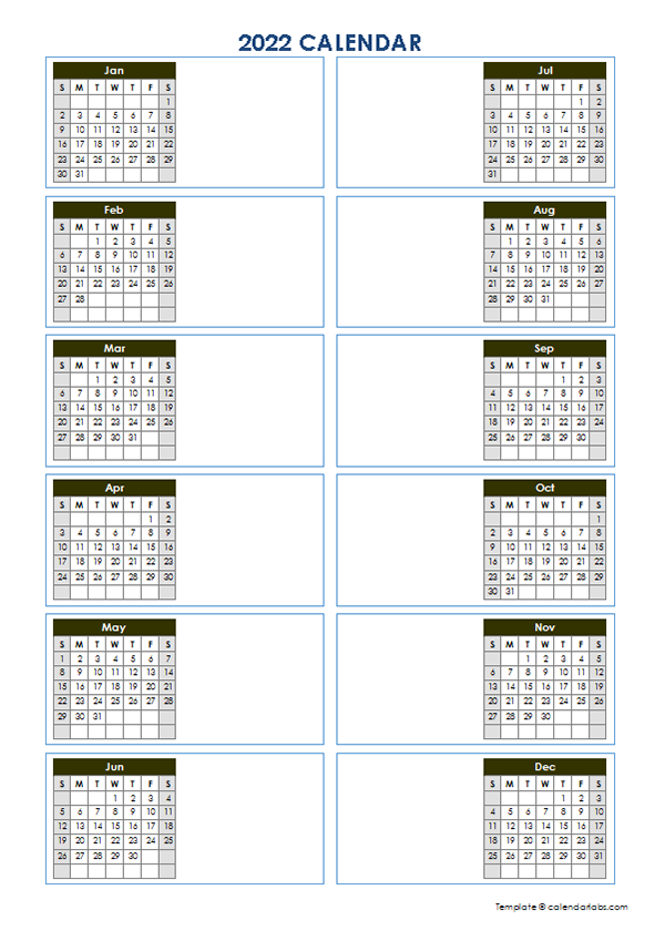 2022 Blank Yearly Calendar Template Vertical Design – Free Intended For Julian Date Calendar For 2022