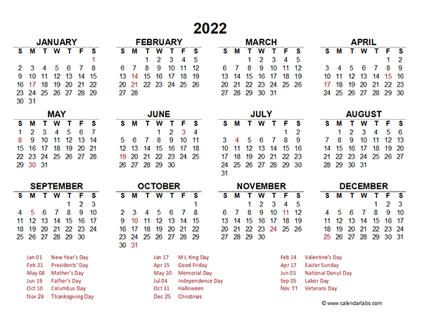 2022 Yearly Calendar Template Excel – Free Printable Templates Regarding Julian Day 2022
