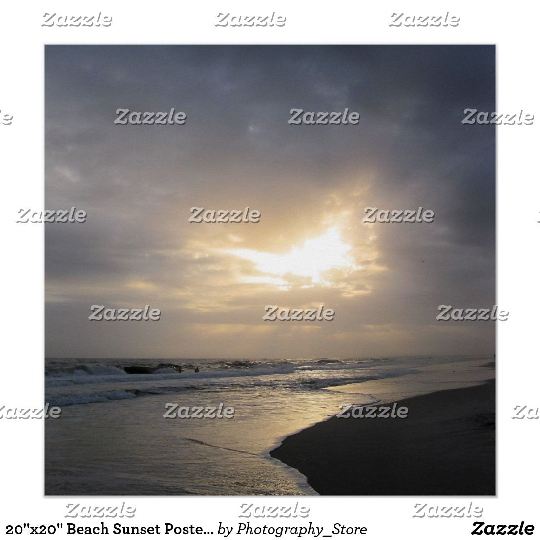 """20""""X20"""" Beach Sunset Poster Print   Zazzle   Poster Inside Sunset Glasgow Times Printable Format"""