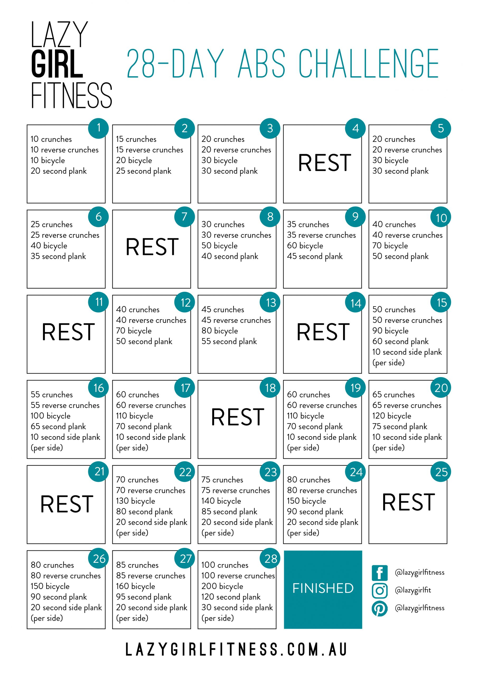 28 Day Abs Challenge – Lazy Girl Fitness Inside 30Days Abs Challenge Printable