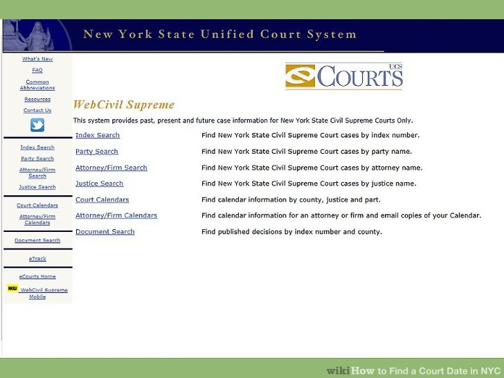 3 Ways To Find A Court Date In Nyc – Wikihow With Court Calendar By Defendant Name