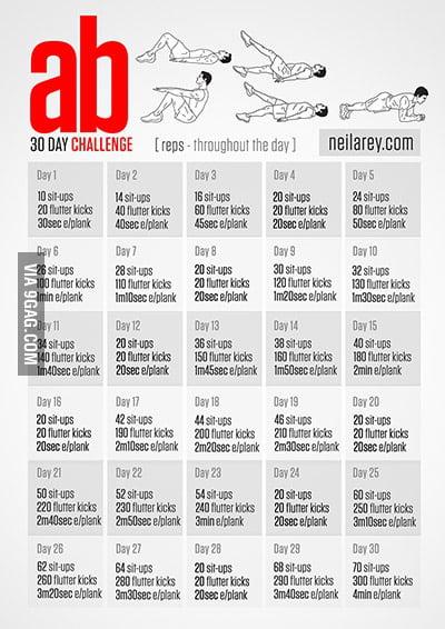 30 Day Ab Challenge – 9Gag Regarding 30 Day Sit Up Challenge Pdf
