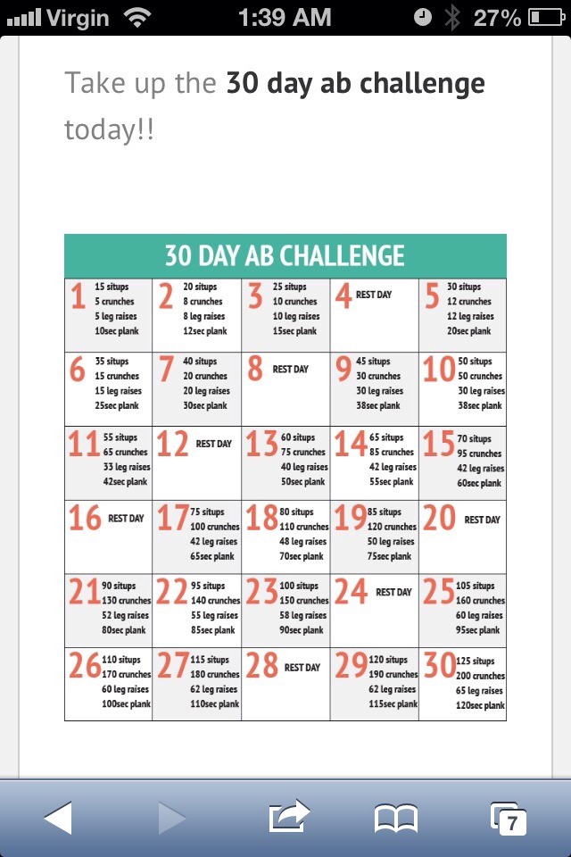 30 Day Ab Challenge - Musely With Regard To 30 Day Sit Up Challenge Pdf