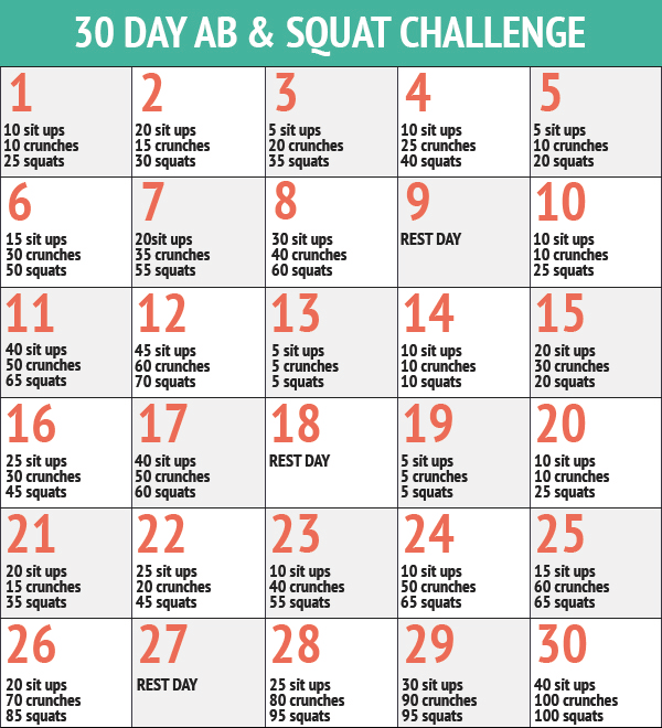 30 Day Ab & Squat Challenge | Squat And Ab Challenge, 30 For Squat Challenge For Beginners Printable