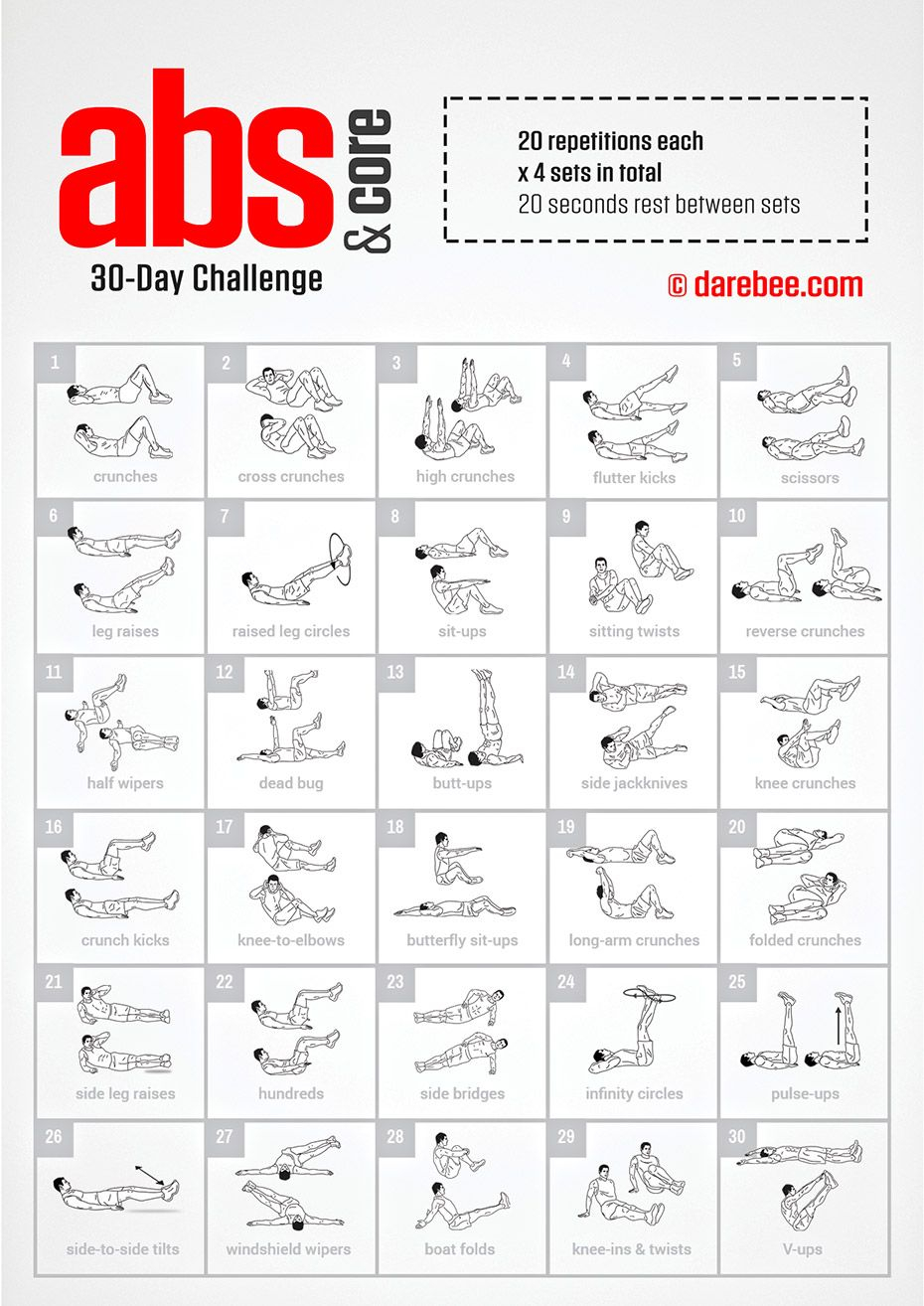 30 Day Fitness Challenge Ideas | Examples And Forms Pertaining To 30Days Abs Challenge Printable