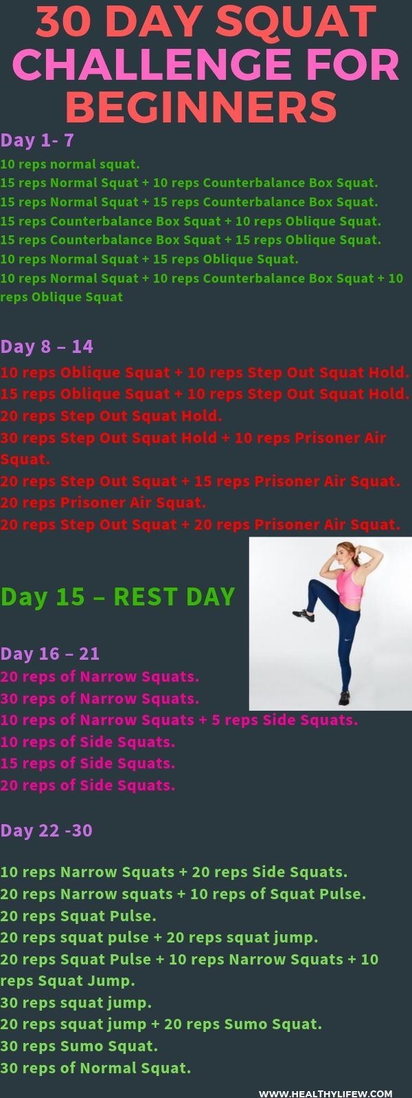 30 Day Squat Challenge For Beginners At Home In 2020 Pertaining To Squat Challenge For Beginners Printable
