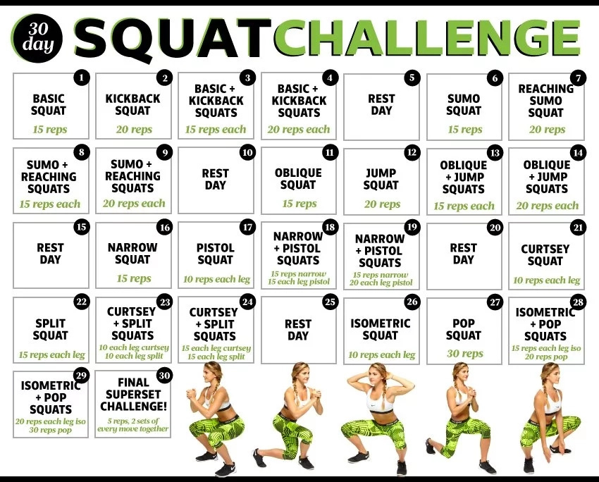 30 Day Squat Challenge – Get Brazilian Butt In 1 Month Pertaining To Squat Challenge For Beginners Printable