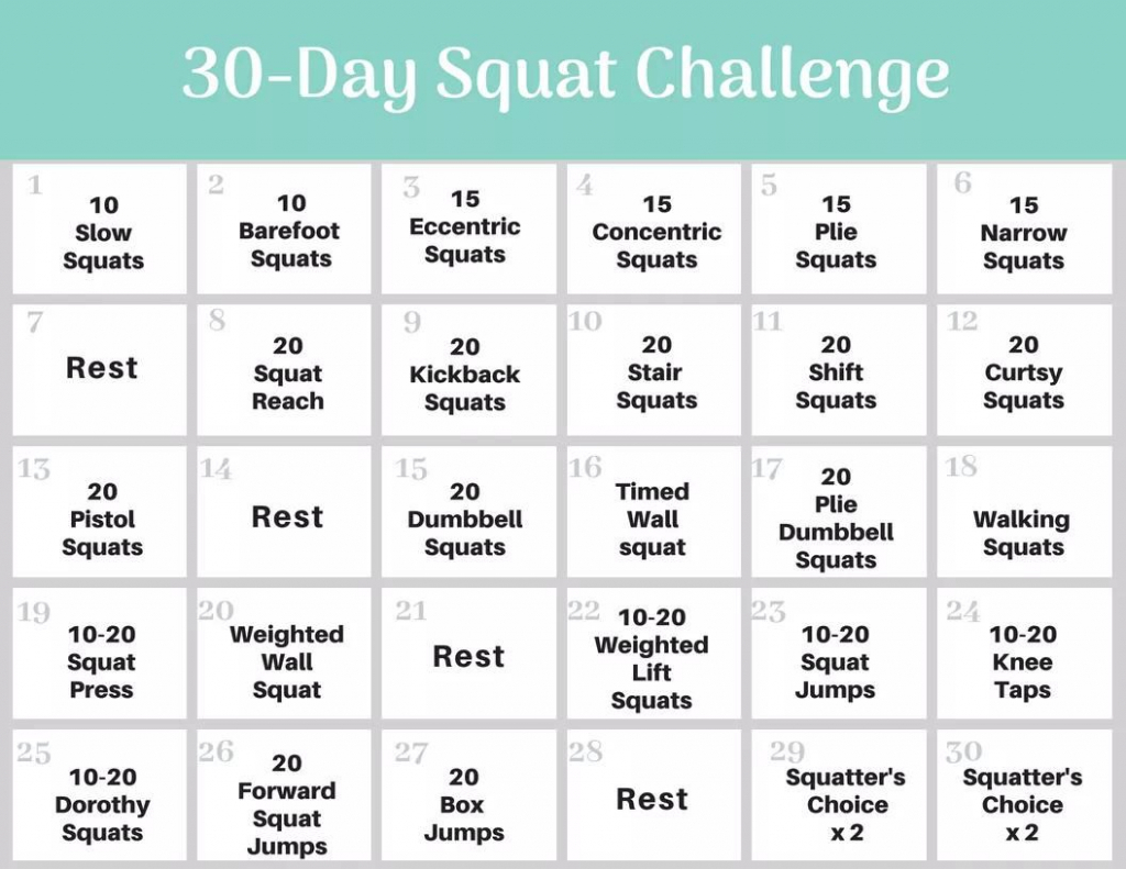 30 Day Squat Challenge Schedule - Calendar Template 2020 For Squat Challenge For Beginners Printable