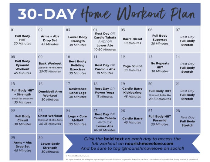 30 Day Workout Plan Calendar Graphic – Nourish, Move, Love Pertaining To 30 Days Calendar