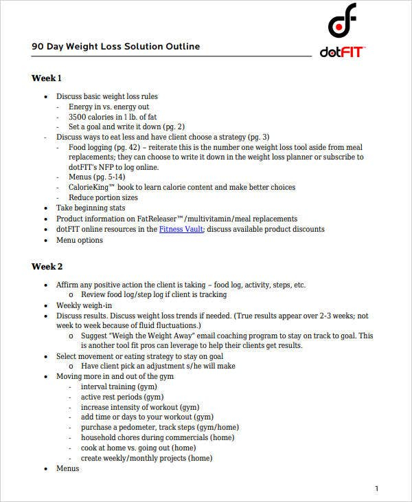 9+ 90 Day Workout Plan Templates – Pdf, Word | Free Intended For 90 Day Calendar Pdf