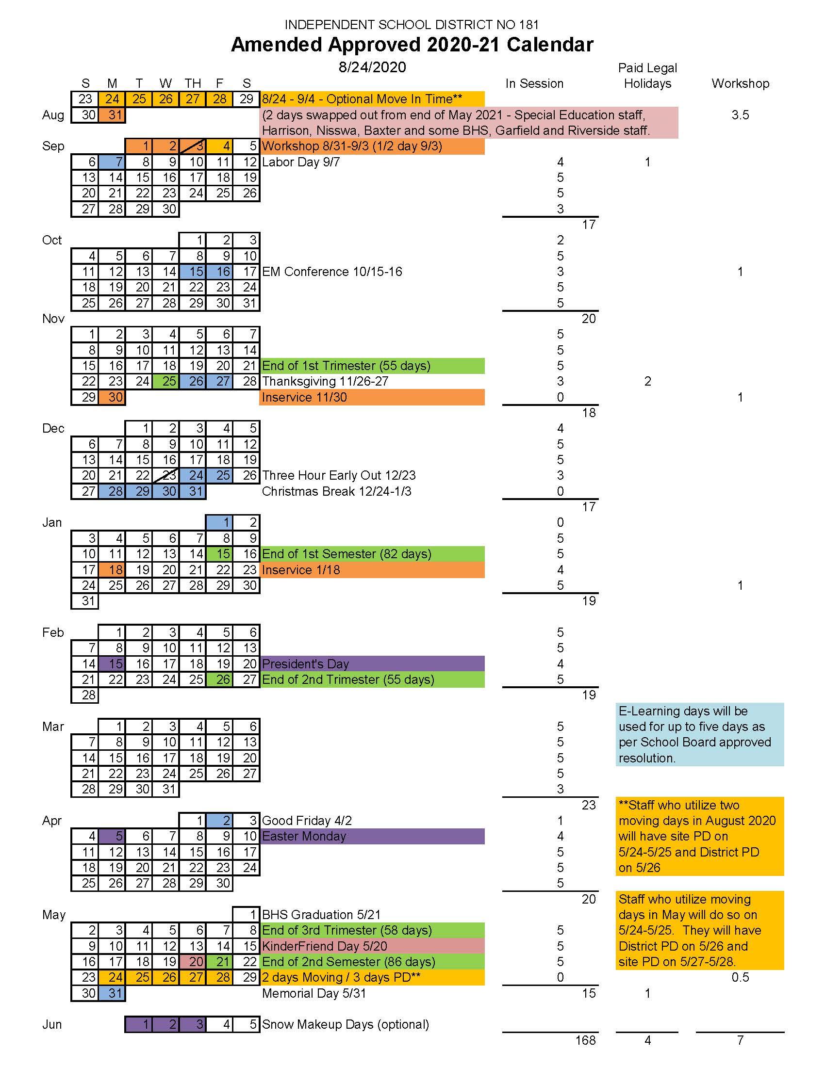 Approved 2020-21 Calendar - Brainerd Public Schools with regard to 454 2021 Calendar