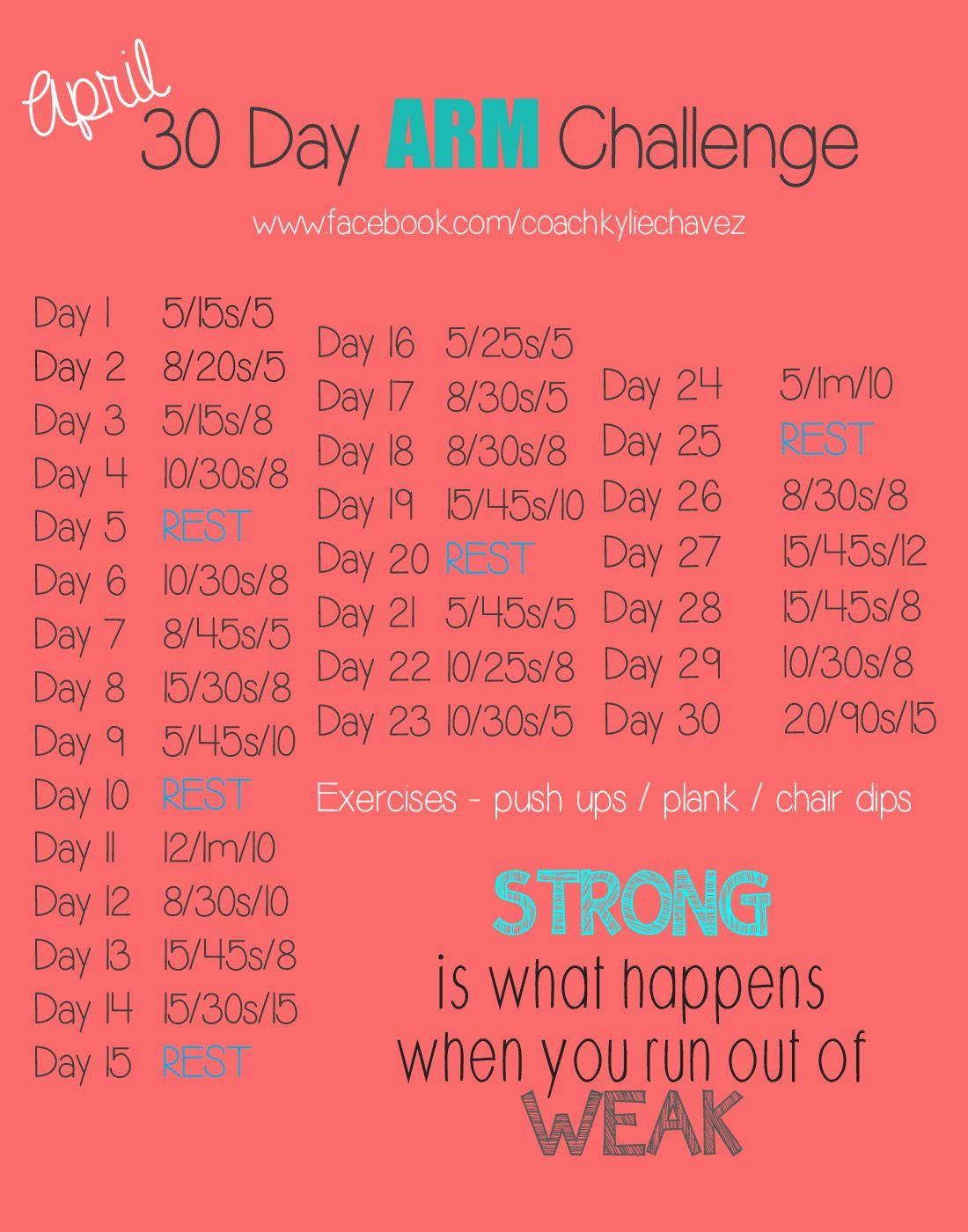 April Fitness Challenge – Arm | Workout Challenge, 30 Day For April Fitness Challenge