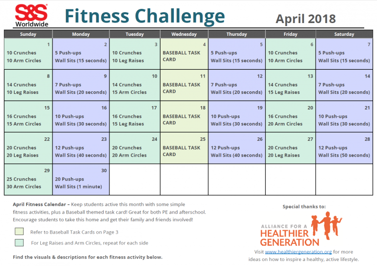 April Printable Fitness Challenge Calendar | Workout For April Fitness Challenge