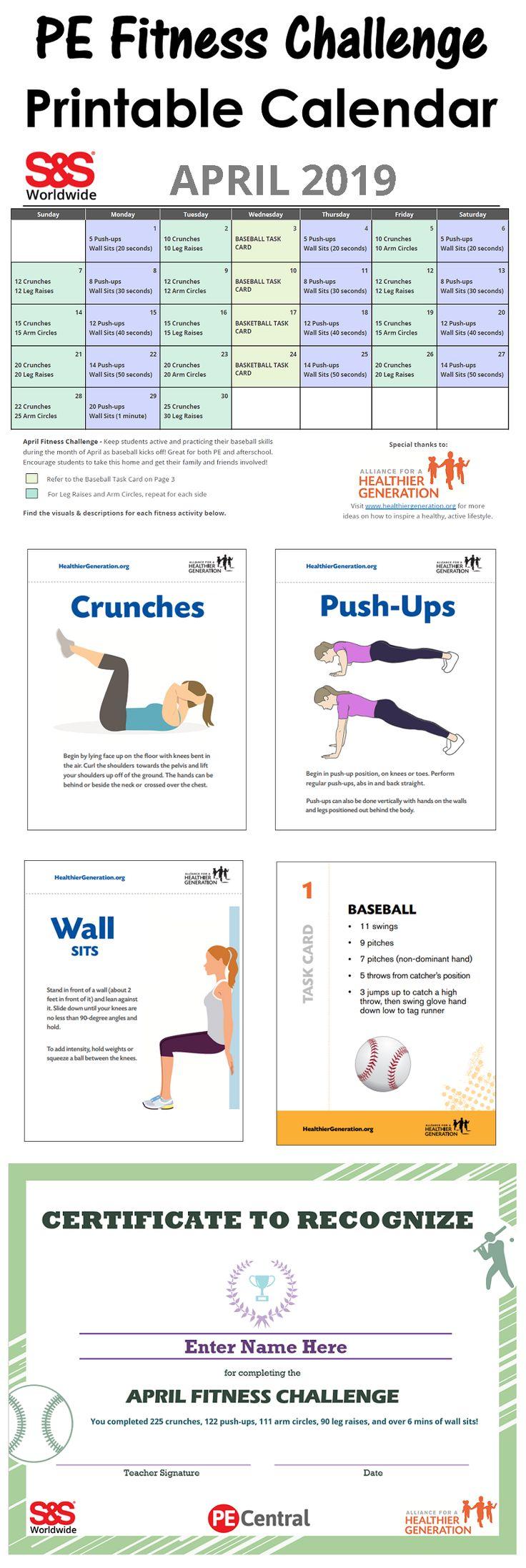 April Printable Fitness Challenge Calendar | Workout Regarding April Fitness Challenge