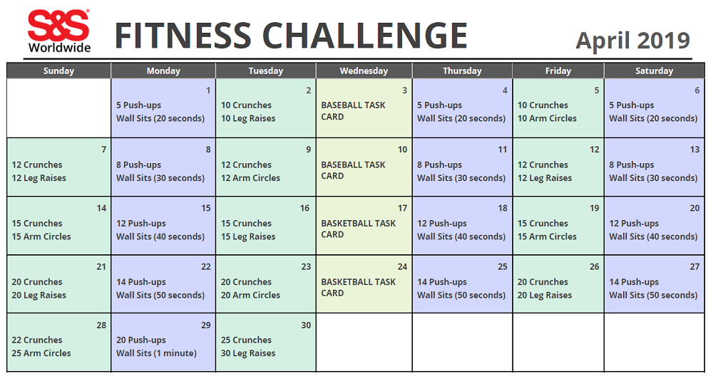 April Printable Fitness Challenge Calendar | Workout With Regard To April Fitness Challenge