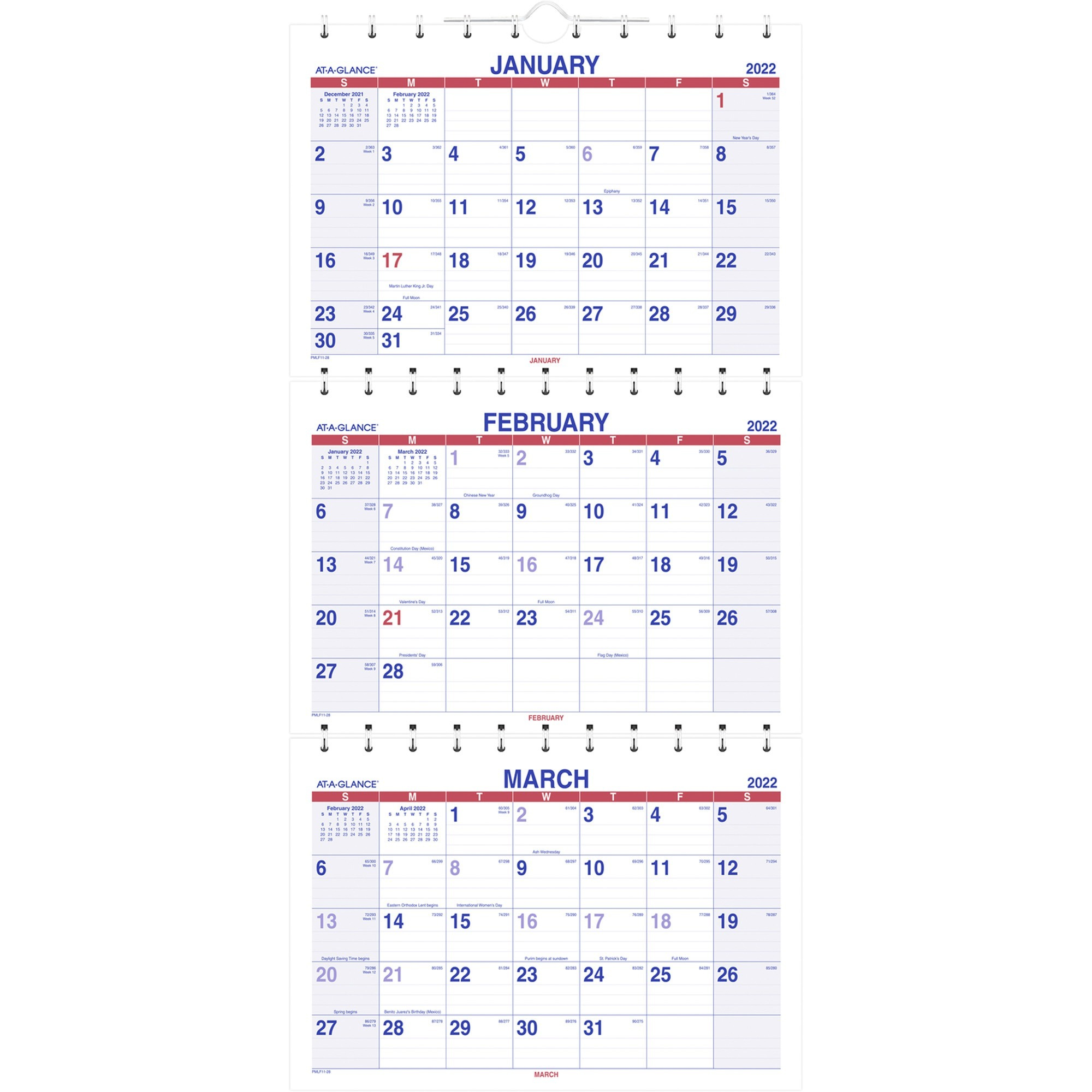 At A Glance Move A Page 3 Month Wall Calendar - Julian Intended For Julian Date Calendar 2022