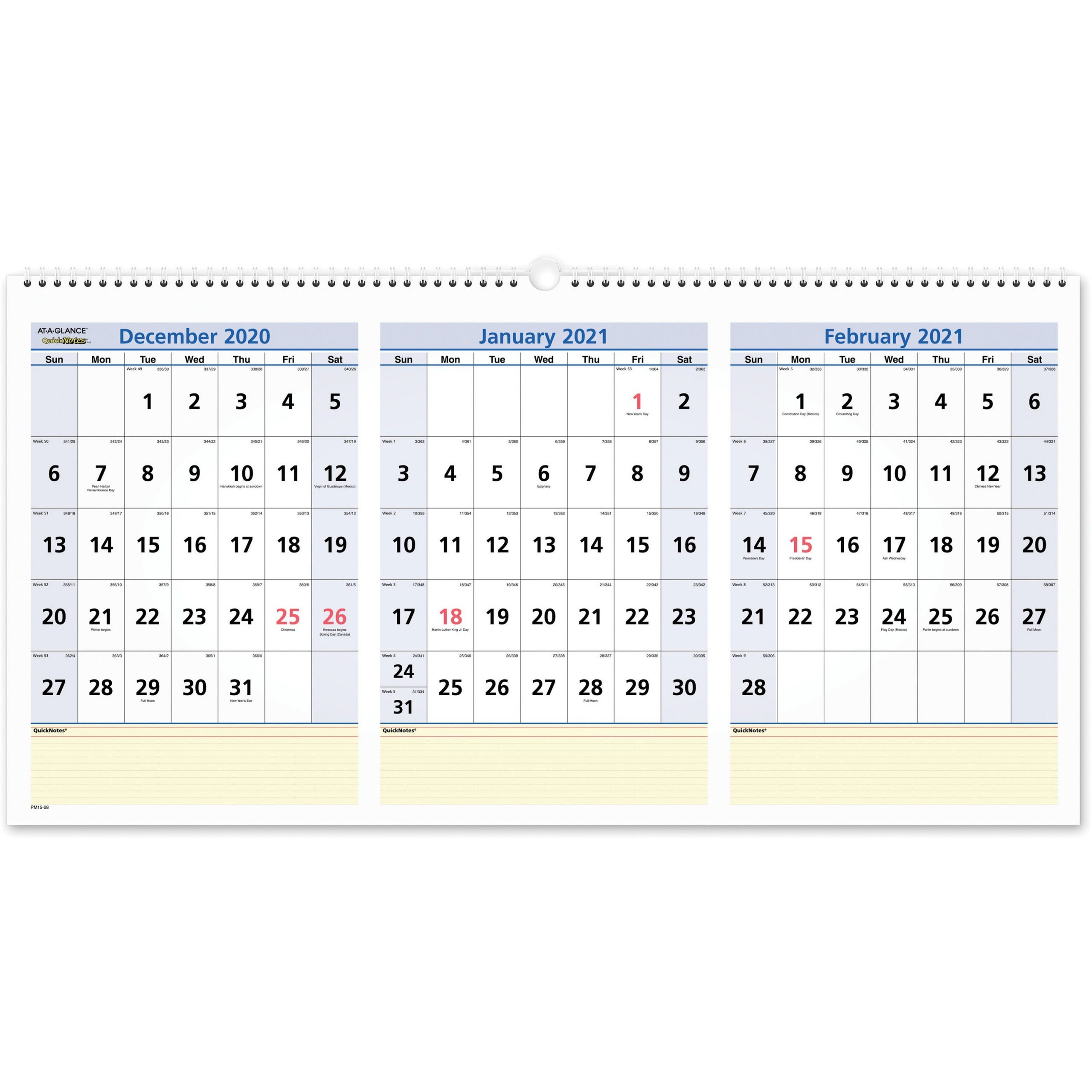 At-A-Glance Quicknotes 3-Month Horizontal Wall Calendar with regard to Julian Date Calendar For 2022