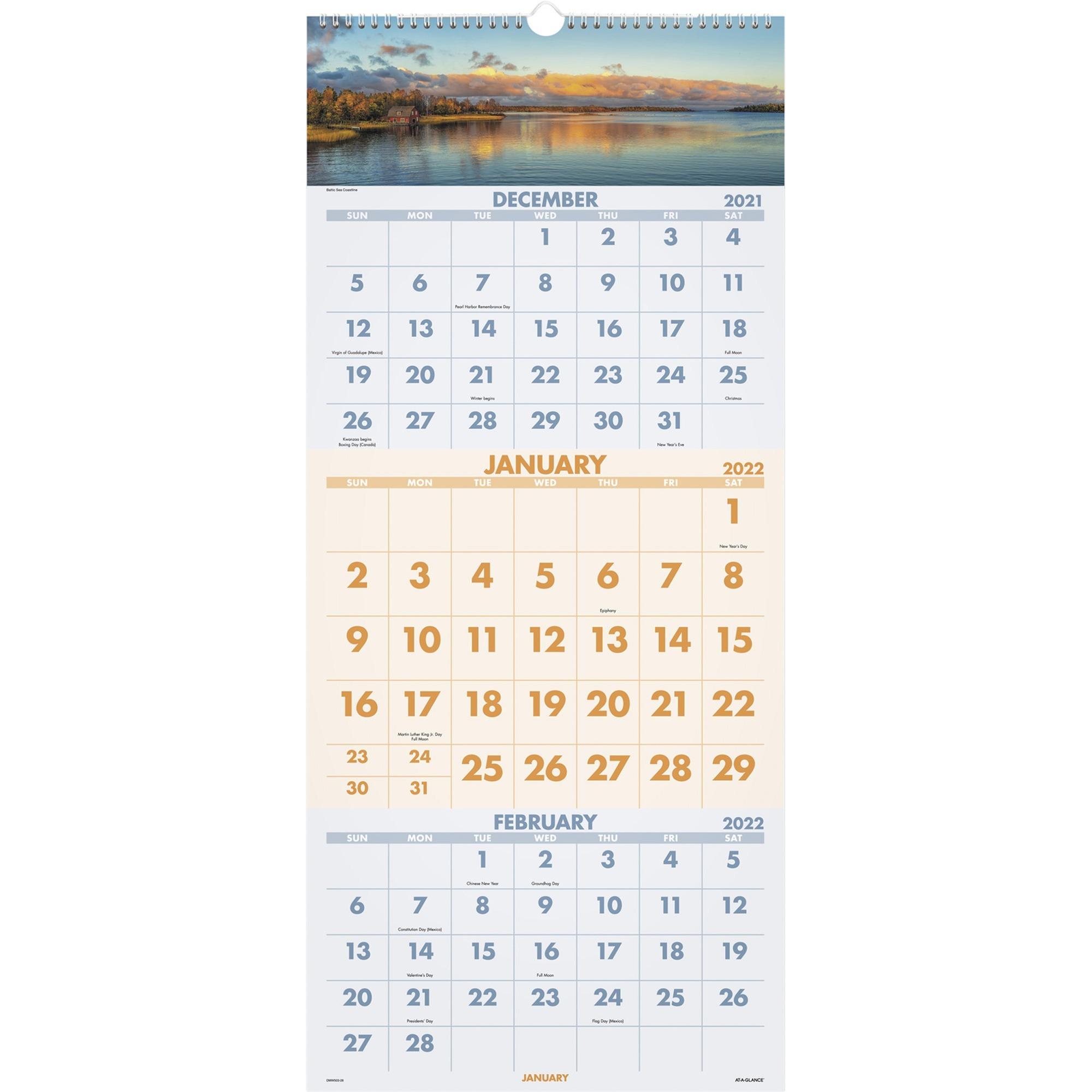 At A Glance Scenic Design 3 Month Wall Calendar – Julian Inside Julian Calendar 2022