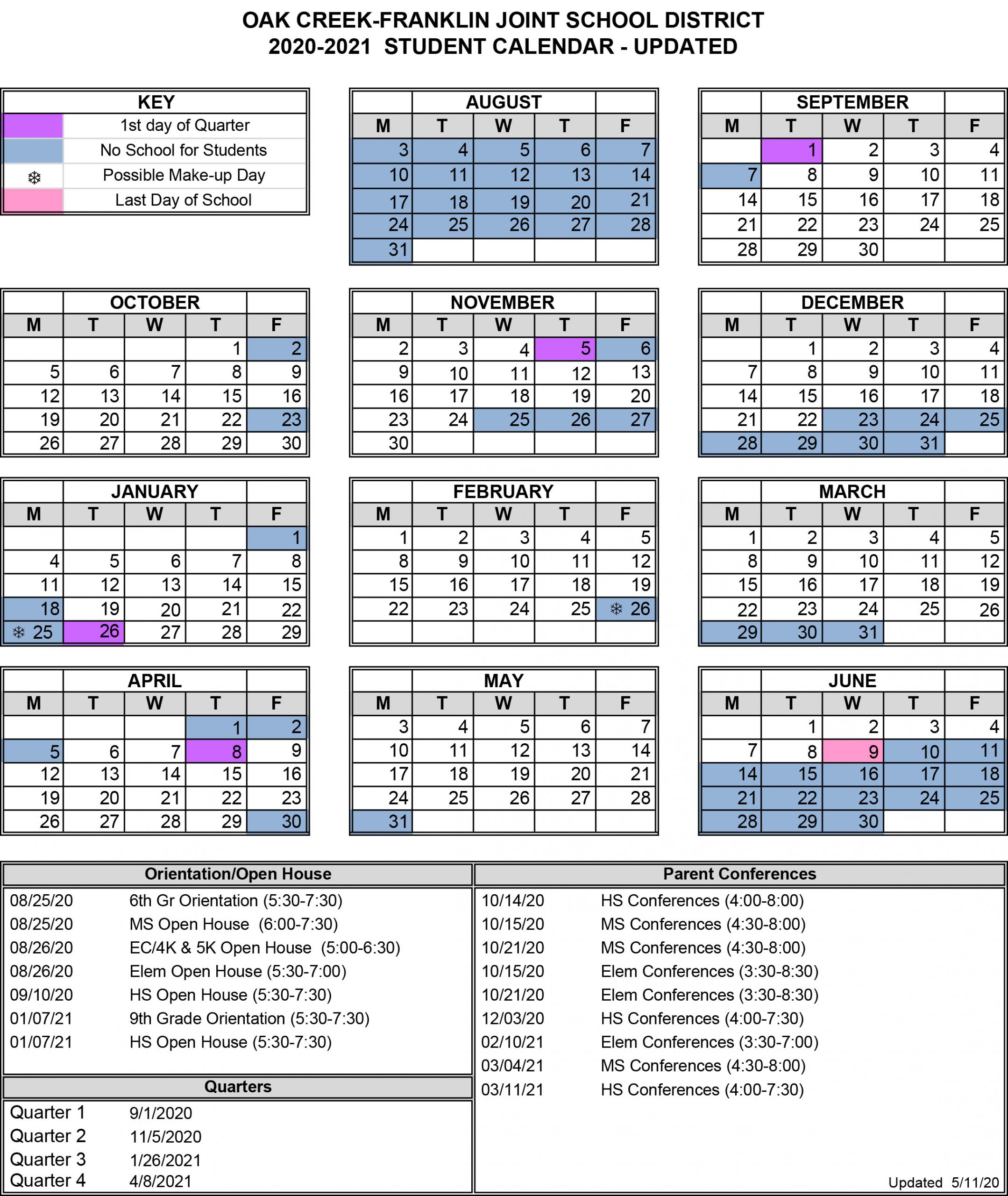 Back To School - Oak Creek - Franklin Joint School District For Warren County Ky 2021 School Calendar