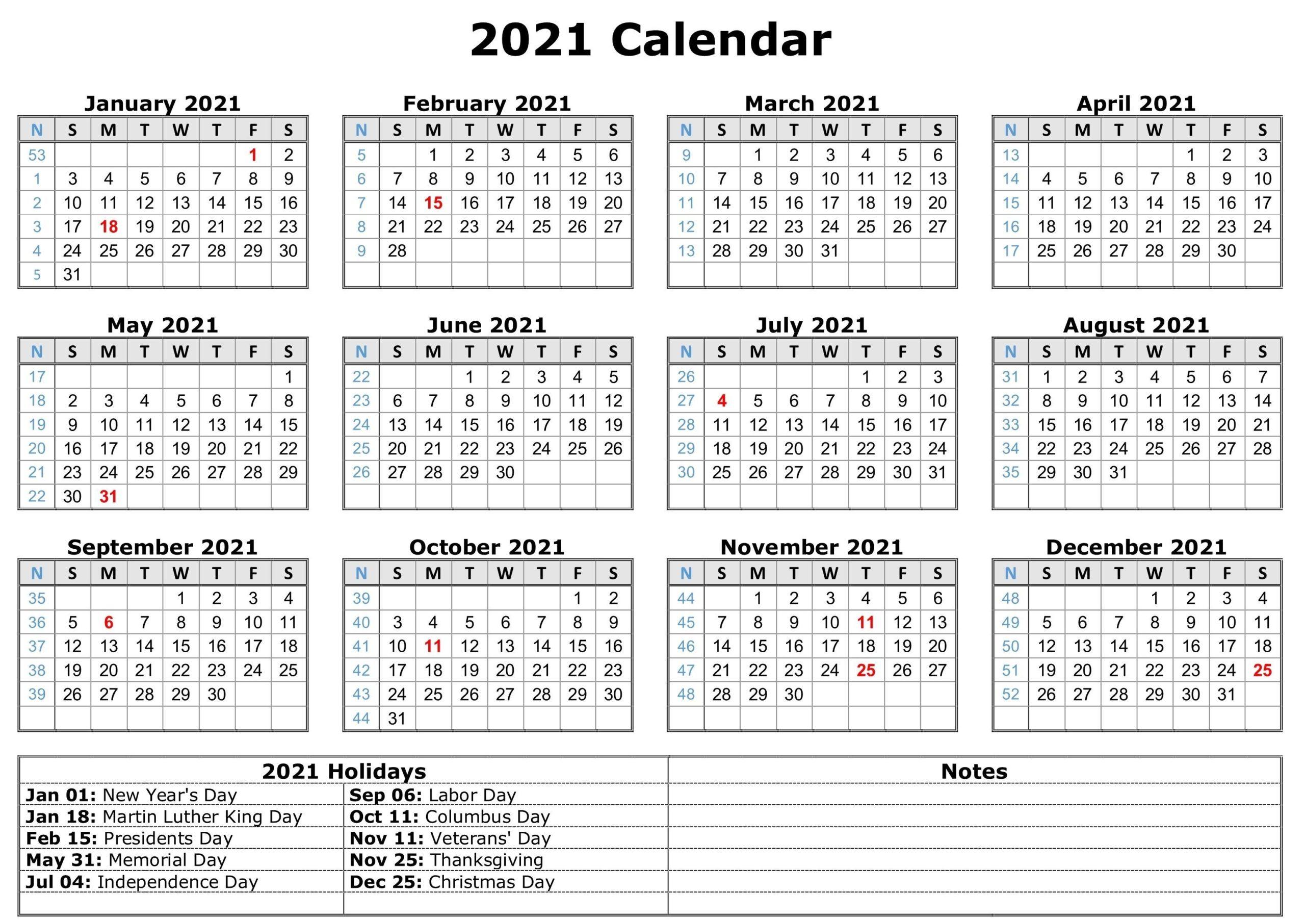 Blank 2021 Calendar Printable   Calendar 2021 Within 2021 Calendar With Federal Printabl