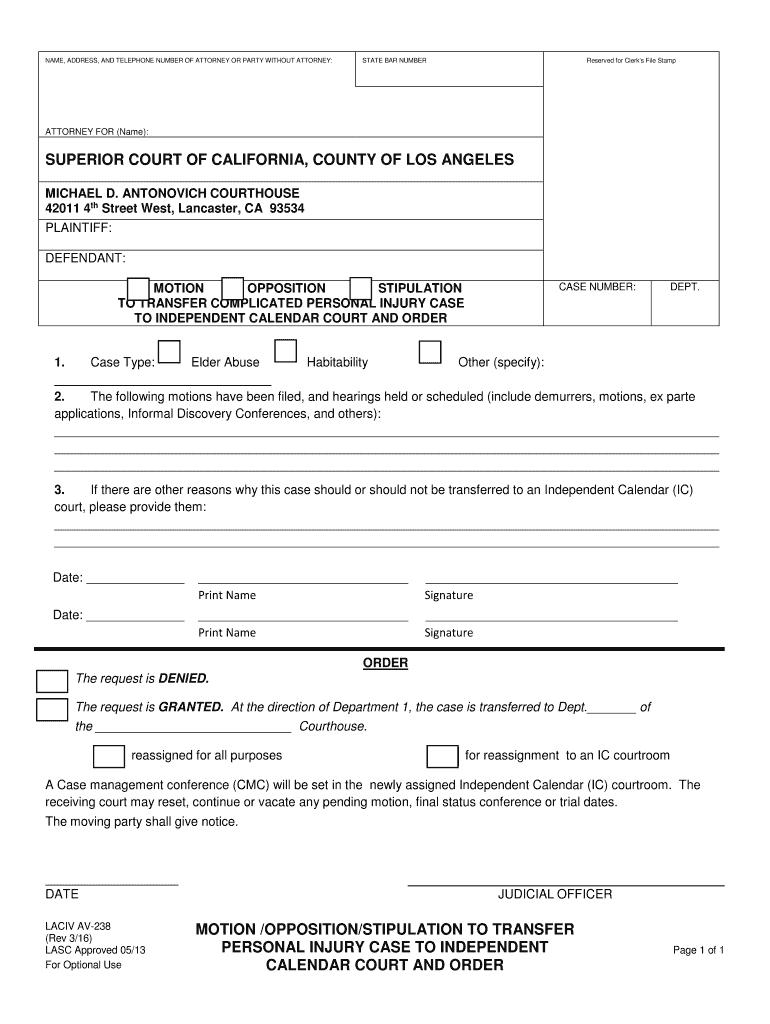 Ca Laciv Av 238 2016 – Complete Legal Document Online   Us For Nc Court Calendar By Defendent Name