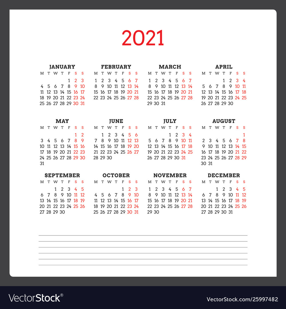 Calendar For 2021 Year Week Starts On Monday Vector Image For 454 2021 Calendar