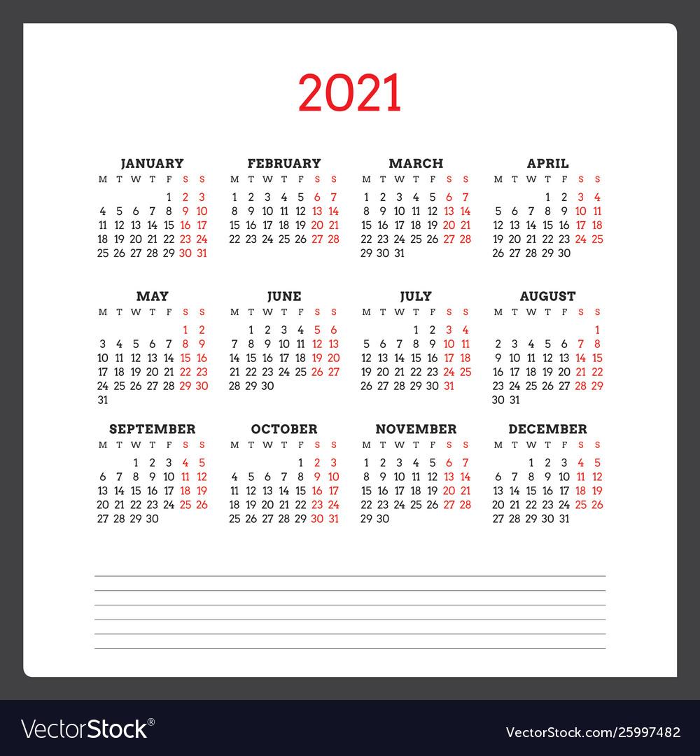 Calendar For 2021 Year Week Starts On Monday Vector Image In 454 Calendar 2021