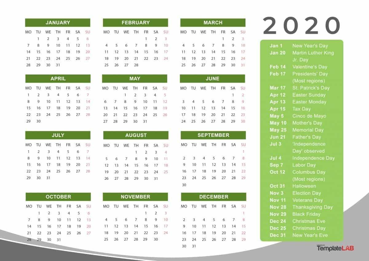 Calendar Labs 2020 Templates | Calendar Template Printable For Every Day Is A Holiday Calendar 2021 Printable