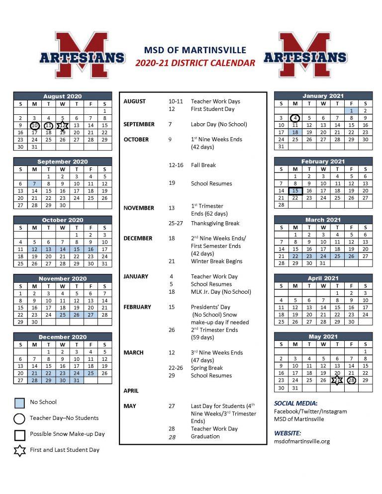 Calendars - Metropolitan School District Of Martinsville In L Victorville School Distict Canlendar 2020 2021 For What Schools