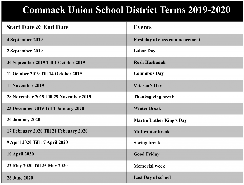Commack Union Free School District Academic Calendar 2020 2021 In District 20 Spring Break 2021