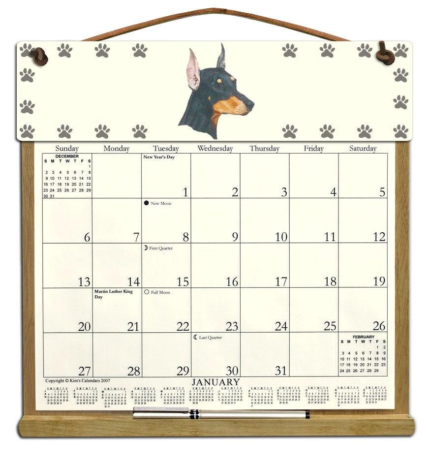 Doberman Dog Calendar Holder Filled With A 2021 Calendar With 454 Calendar 2021