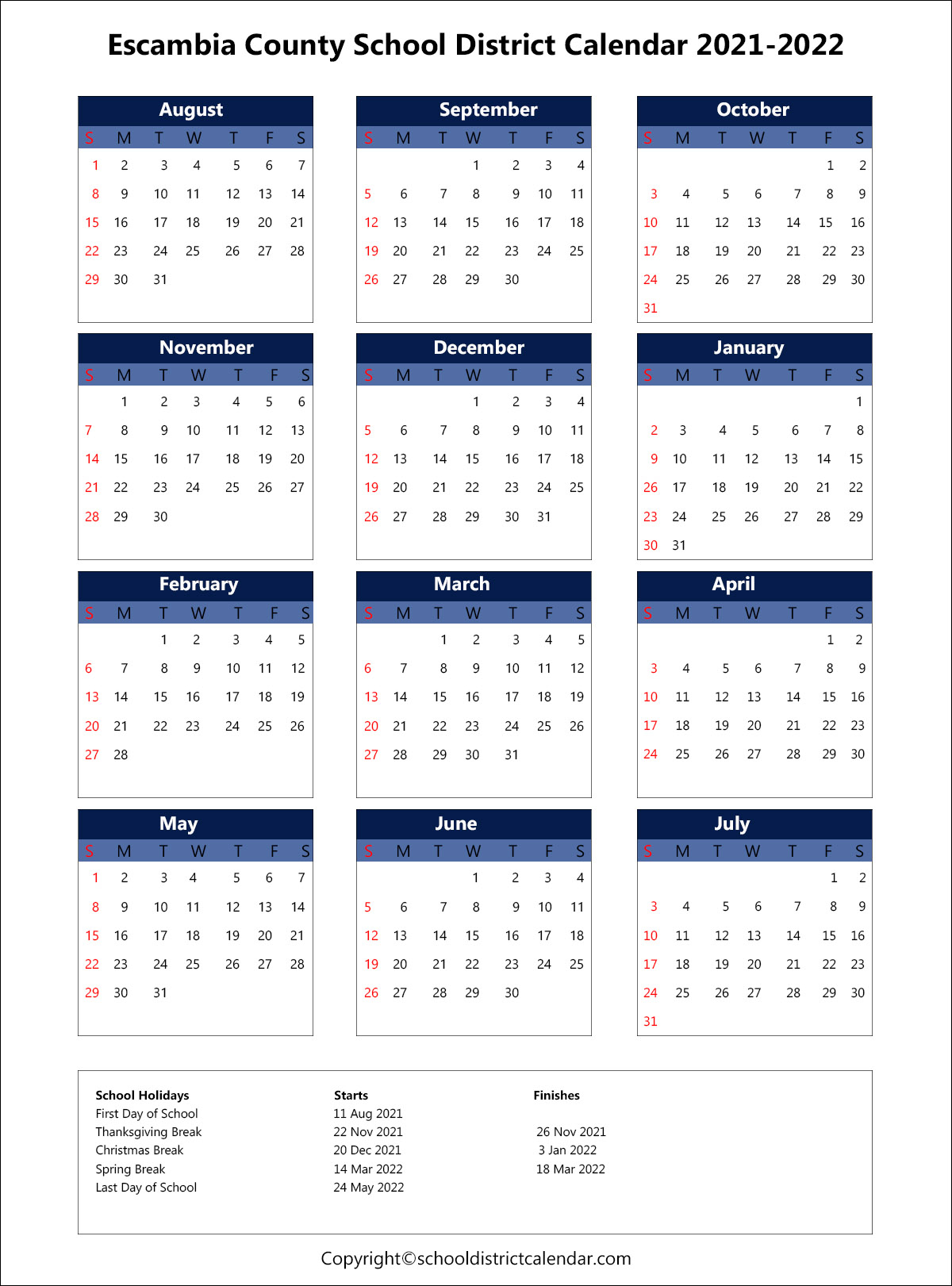 Escambia County School District Calendar Holidays 2021-2022 regarding 2021 2022 Aiken County Public School Calendar
