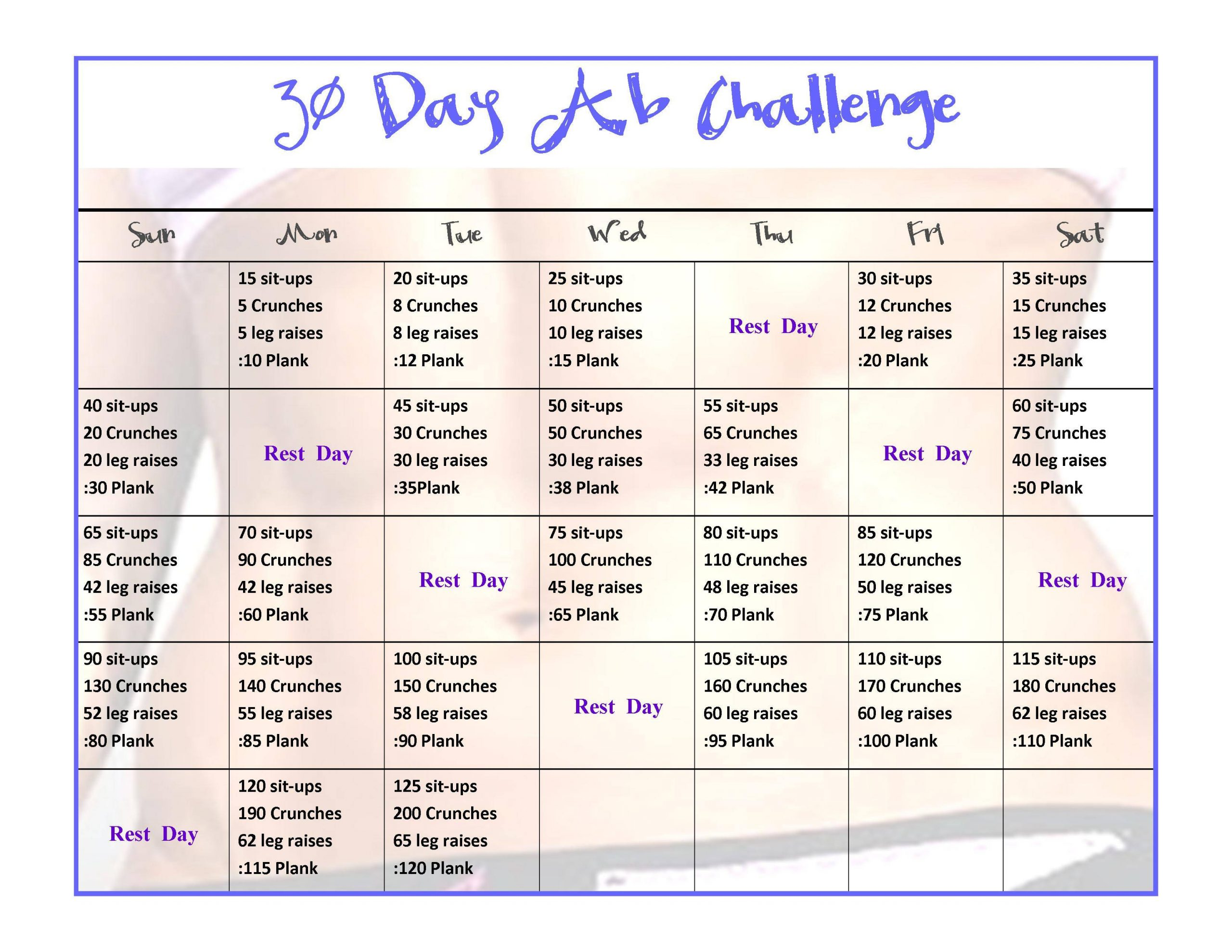 Exercise – 30 Day Ab Challenge – Physical Fitness Stack For 30Days Abs Challenge Printable