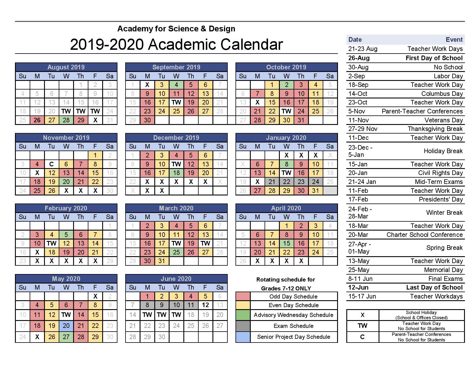 Forsyth County Calendar 2020   Free Printable Calendar Within Winston Salem Forsyth County Schools Calendar Pdf