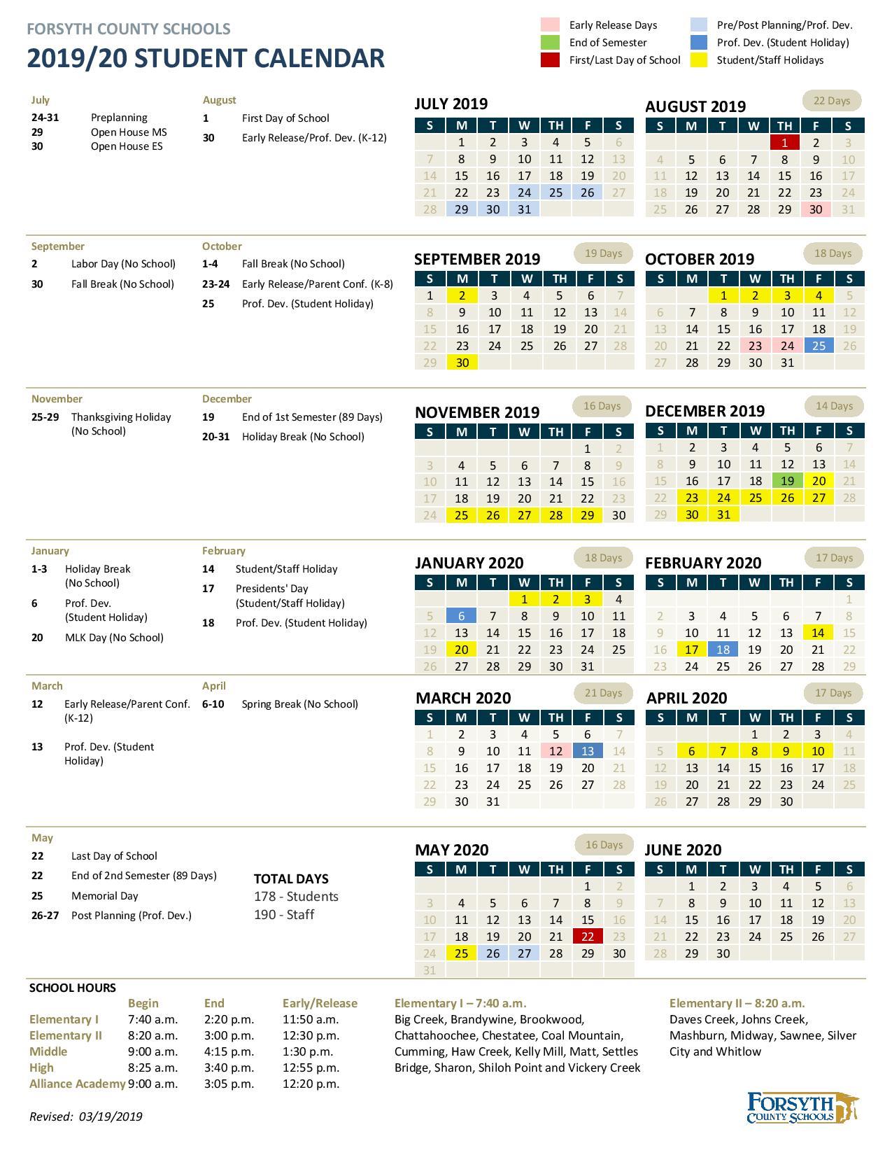 Forsyth County School Calendar 2020   Free Printable Calendar In Winston Salem Forsyth County Schools Calendar Pdf