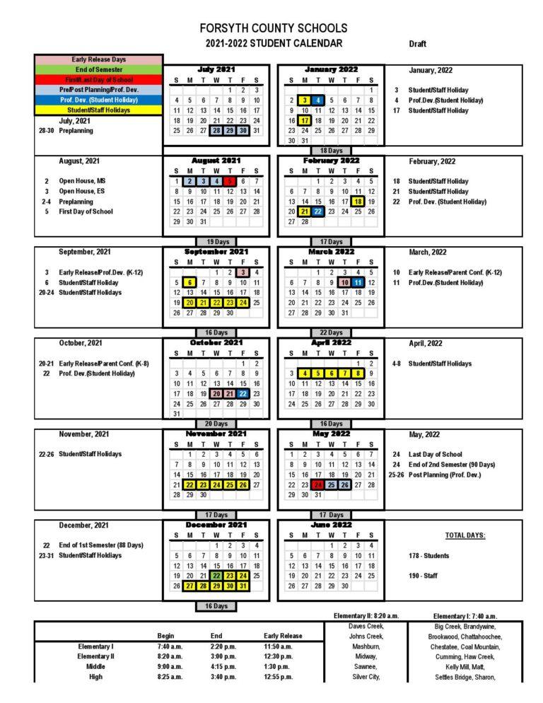 Forsyth County School Calendar 2021 2022 In Pdf Inside 2021 2022 Aiken County Public School Calendar