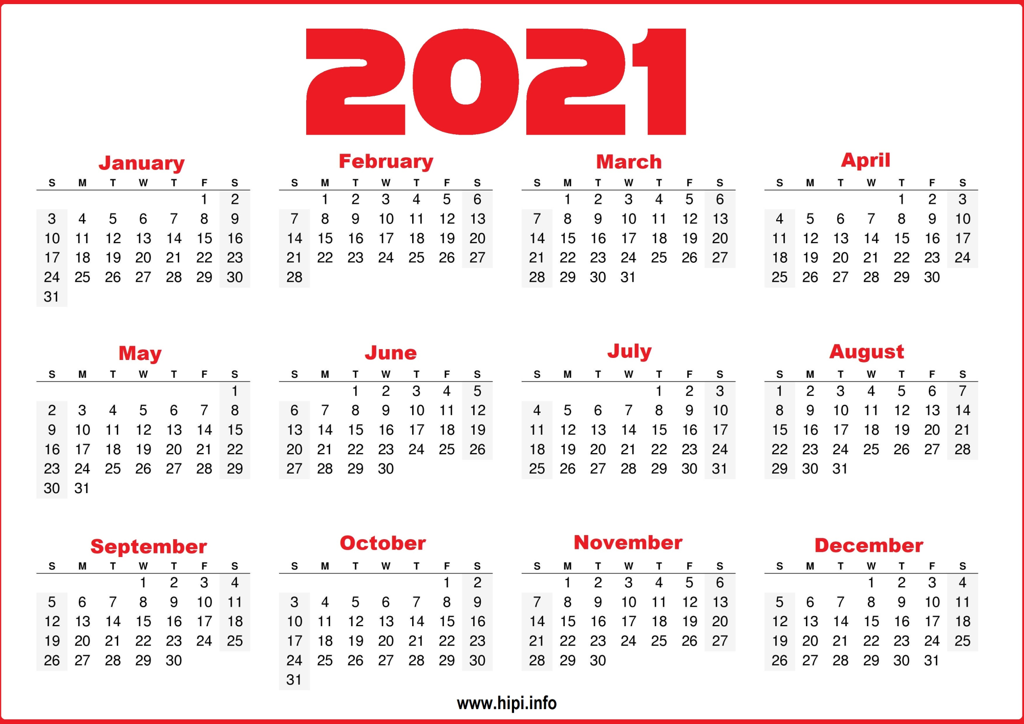 Free 2021 Yearly Calender Template / 12 Month Colorful Regarding 2021 Calendar With Federal Printabl