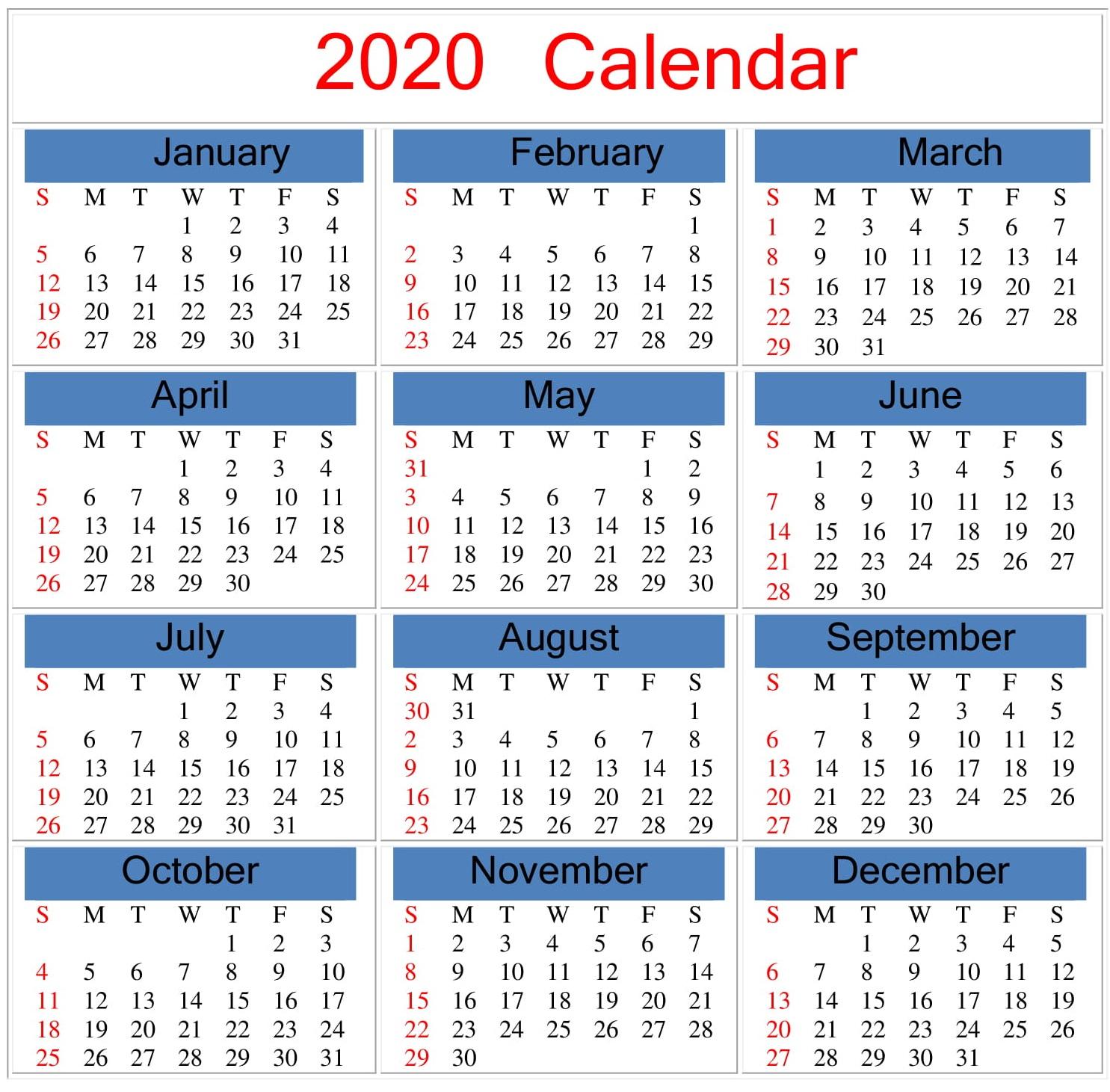 Free Printable 2020 Calendar Word, Pdf, Excel Document With Regard To Julian To Gregorian Calendar 2022