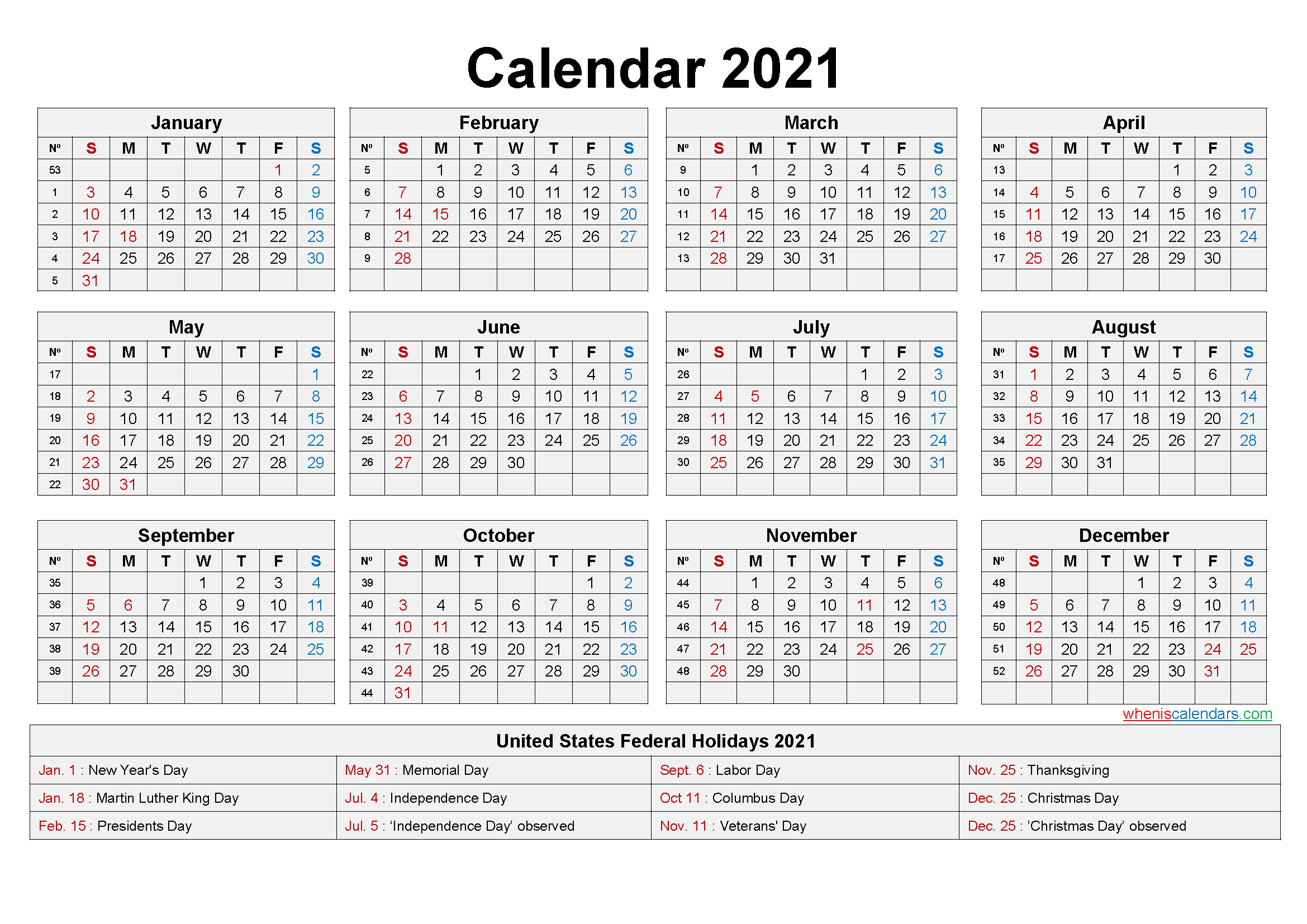 Free Printable 2021 Monthly Calendar With Us Holidays Inside 2021 Calendar With Federal Printabl