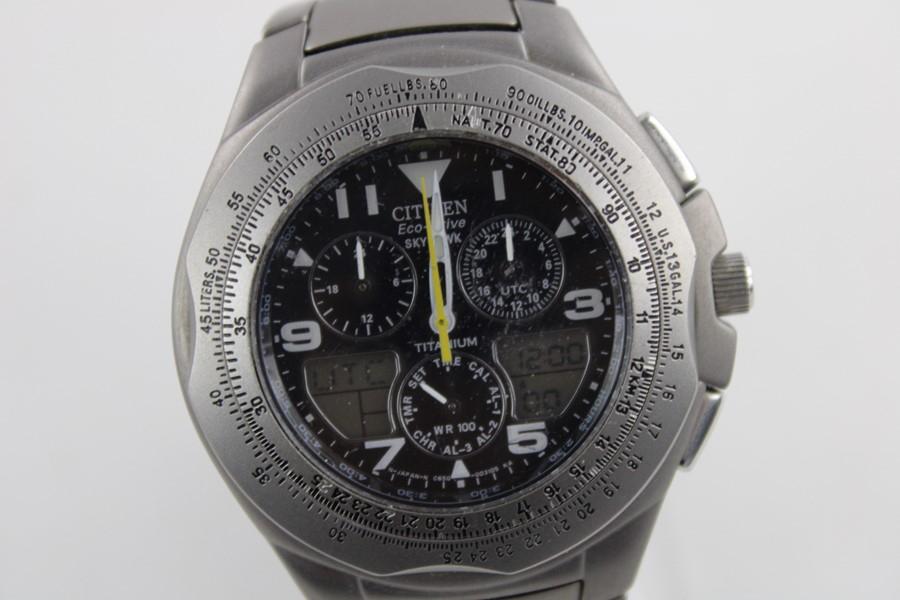 Gents Citizen Eco Drive Skyhawk Titanium Wr100 Wristwatch Inside Citizen Eco Drive Wr100 Manual