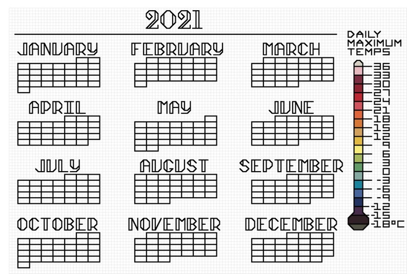 High Temperature Calendar Cross Stitch Pattern 2021   Etsy Regarding 454 Calendar 2021