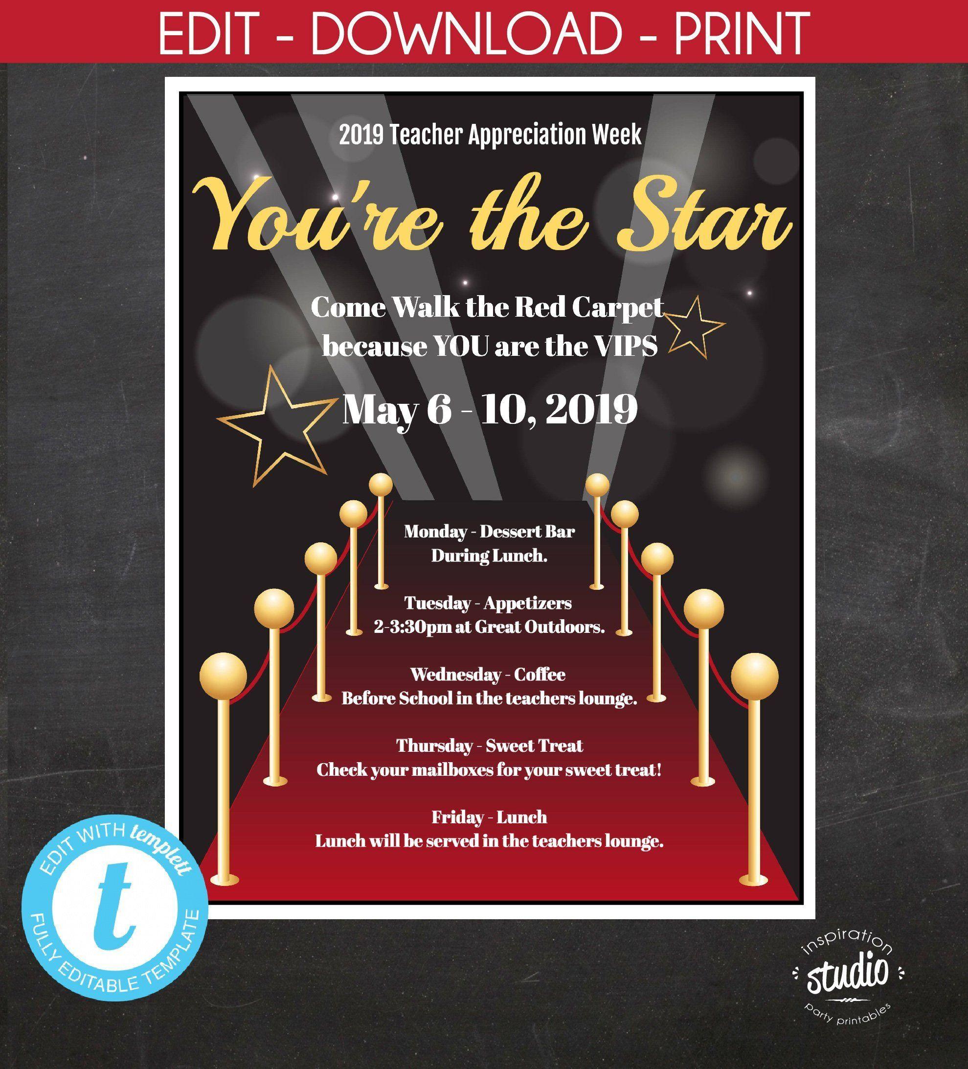 Hollywood Red Carpet Teacher Appreciation Week Poster And With Regard To Teacher Appreciation Week 2021