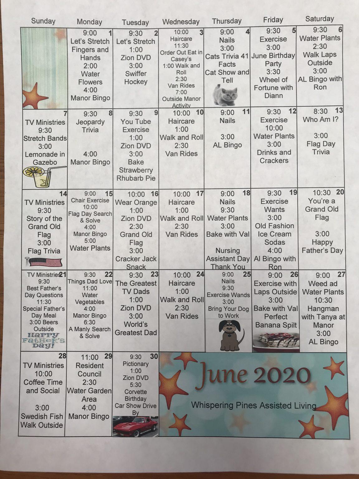 June Assisted Living Calendar 2020 – Plainview Manor And Pertaining To Assisted Living Calendars