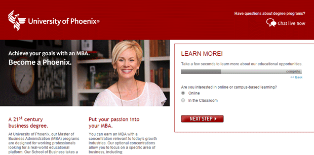 Landing Page Lessons From Top Ppc Advertisers – Search Pertaining To University Of Phoenix Break