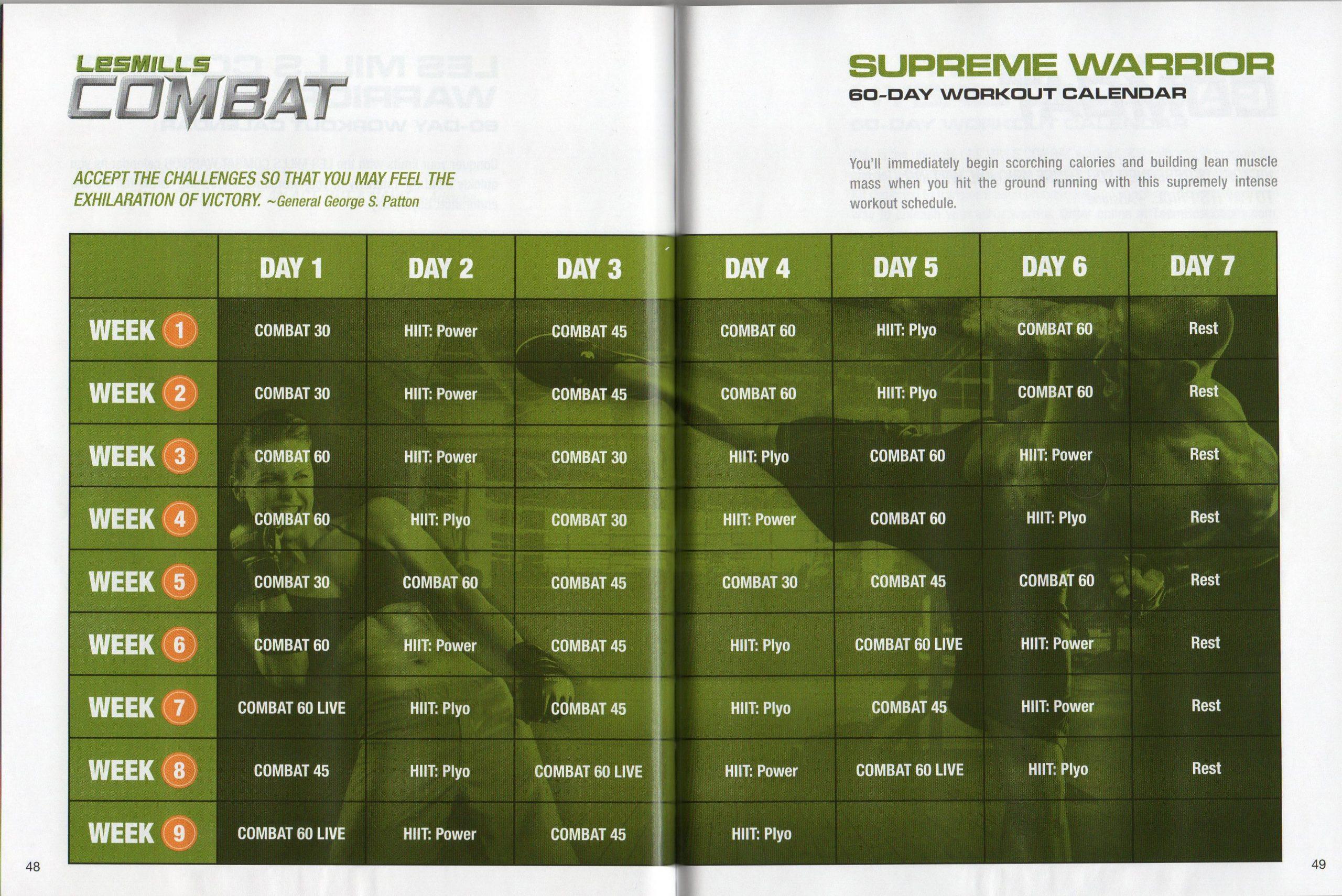 Les Mills Combat ~ 02 ~ 60 Day Supreme Warrior Calendar Regarding Supreme 90 Day Schedule